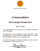 Commendation from Governor Gray Davis, California